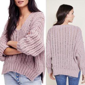 Free People Lavender Purple Infinite VNeck Sweater